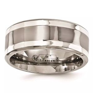 Sz 10 Edward Mirell Titanium & Silver Wedding Band